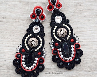 Sale 20% - Long hand embroidered colorful soutache earrings. Stud earrings. Oriental earrings. Soutache jewelry. Gift for her.