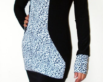 Cowl neck long top/ dress, with black and white animal print centre panel - Made to Order - Kezbirdie