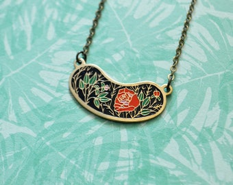 Vintage Floral Enamel Necklace - Red Rose - Soft Enamel - Enamel Jewelry - Vintage Enamel Charm - Enamel Pendant Necklace