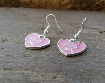 Pink Heart - Hug Me - Earrings - Valentine Jewelry - Teens Tweens Kids Womens Earrings, Conversation Heart Charms - Valentine's Gift