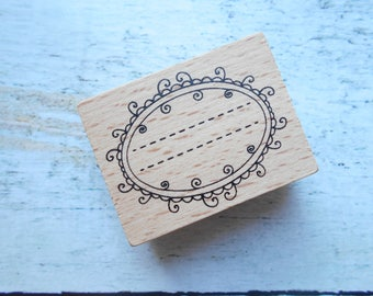 "Wooden rubber stamp ""label"" new"