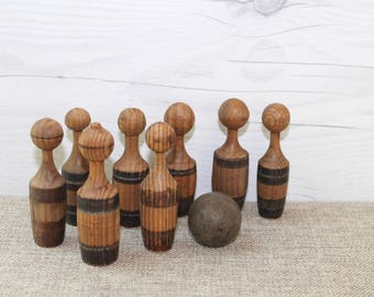 Vintage Small Striped Wood Bowling/Skittles Pin Set, Vintage Wooden Bowling Pins with Wood Ball, Vintage Wooden Skittles Game