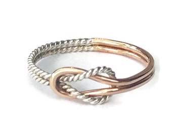 Love knot ring, gold ring, gold and silver ring, promise ring, two tone ring, buckle knot