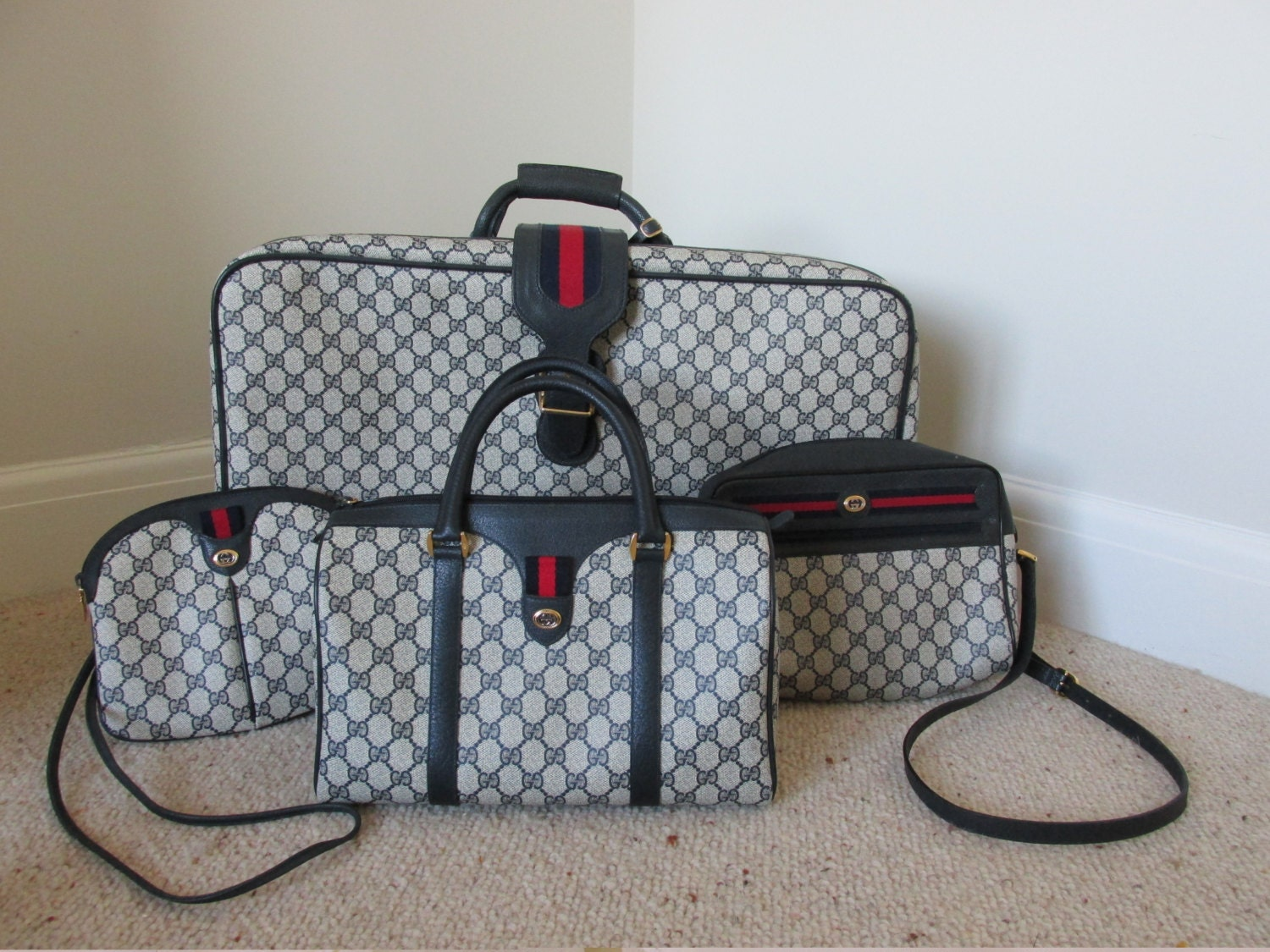 Gucci Suitcase S Vintage Luggage Overnight Case Holiday - Free download of invoice template gucci outlet store online