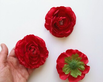 3 Pieces ruffle Ranunculus Heads, Artificial flowers, Faux flower head set, 9 cm / 3.5'' diameter, Artificial flowers, Silk flowers, Red