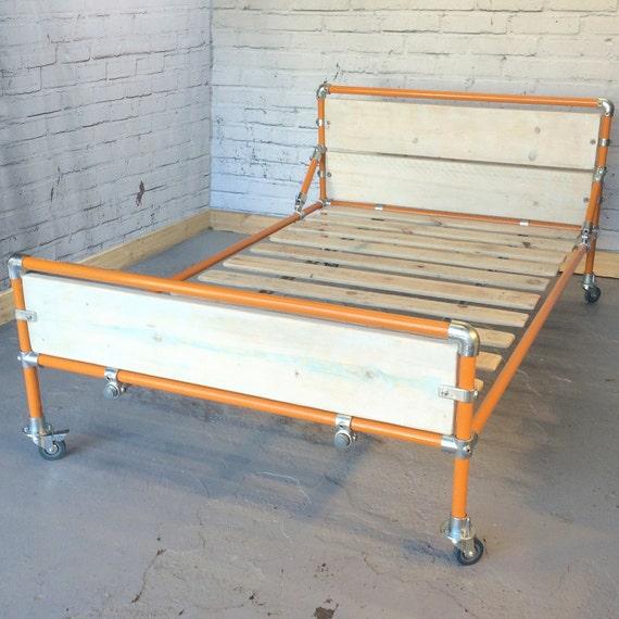 metal bed frame with storage space below modern industrial. Black Bedroom Furniture Sets. Home Design Ideas