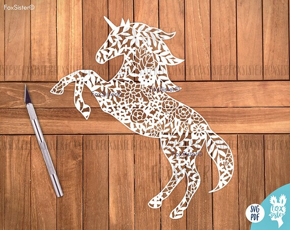 SVG / PDF Papercut Template Unicorn Horse Commercial and