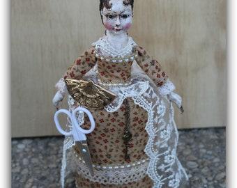 Queen Anne doll/folk art/ reproduction art doll /pincushion doll