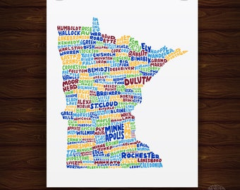 Hand Lettered Minnesota Print, Minnesota Shape Artwork, Minnesota Artwork, Minnesota Gift, Minnesota Design