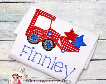 Boy Patriotic Tractor with Stars Shirt - Memorial Day Tractor Shirt - Boys 4th of July Outfit, Embroidered, Personalized, Applique, Monogram
