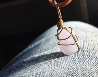 Blue Lace Agate Wire Wrap Necklace