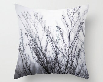 Pillow Cover, Winter Fog and Branches, Black, White, Decorative Throw Pillow Cover, 16x16, 18x18, 20x20