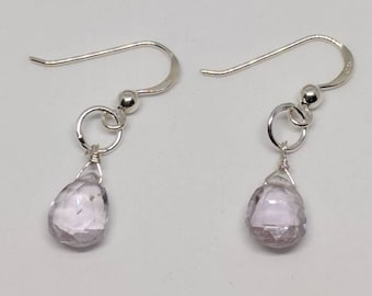 Pink amethyst earrings. Gold pink amethyst earrings / sterling silver pink amethyst earrings