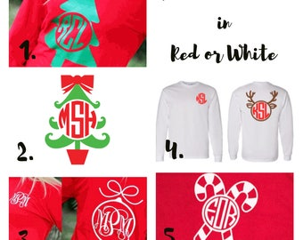 Adult & Youth Monogrammed Christmas T-Shirt