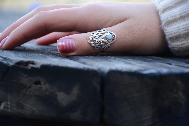 Thumb ring Sterling silver opal hamsa ring Filigree ring