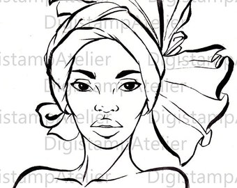 African Woman II. INSTANT DOWNLOAD Digital Digi Stamps.