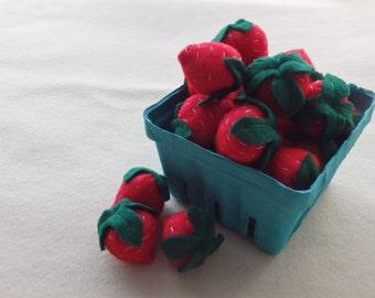 Felt Strawberries Pretend Food