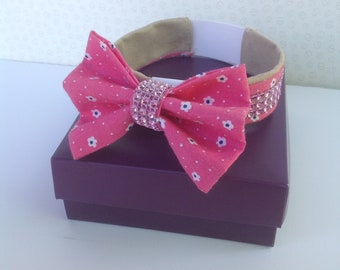 Handmade pink diamante dog bow tie and collar cover set pet collar bows dog accessories great dog lovers gift unique wearable art for dogs