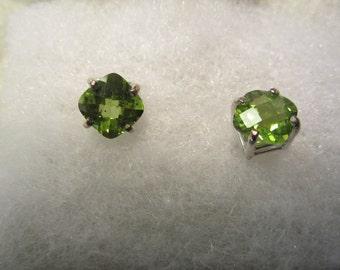 Pair of Natural Checkerboard Cut Peridot Earrings