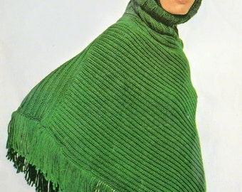 Knitting Pattern, Hooded Poncho Knitting Pattern, INSTANT Download Pattern PDF (2602)