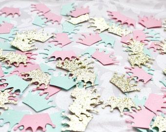 Paper confetti, Mint Pink Gold Crown Confetti, Birthday Decor, Baby Shower, wedding decor, table decor