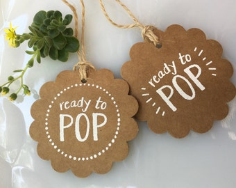 Set of 20 Handmade Ready to Pop Baby Shower Party Favor Tag-Popcorn Baby Shower Favor Tag-Cake Pop Favor Tag-Mini Champagne Bottle Favor Tag