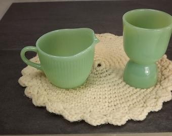 FireKing jadeite egg cup and Jane Ray creamer