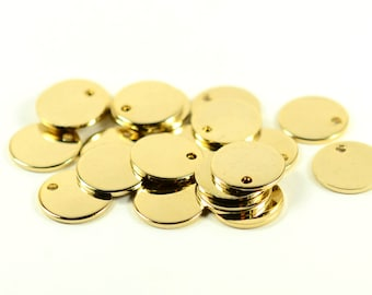 10 Pcs. 22k  Shiny Gold Plated 10 mm Round 1 Hole Stamping Personalized Disc , 1 mm (18 ga )