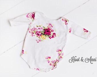 Floral Romper - newborn romper, sitter romper, White pink floral, White Pink baby romper, newborn prop, sitter prop, photography prop