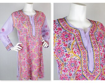Vintage Boho Folk Tunic Dress Hand Embroidered Hippie Chic, Sz S