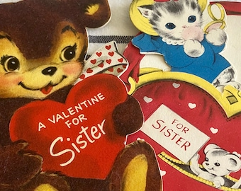 Sister Valentines Cards Used/Inscribed 2 available 5.00 each Kitty or Teddy Bear for Sister 1950s vintage