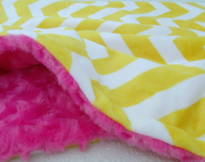 Saffron Yellow Chevron with Hot Pink Minky Blanket for baby, toddler or adult