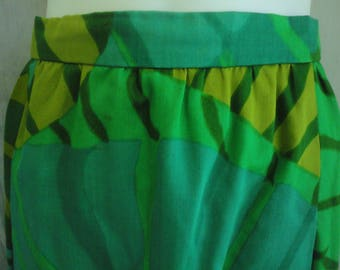 Bold 60s Green Leaf Pattern Skirt Size Ladies Womens Small Summer Sale