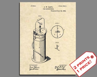 Fireman Home Decor - Fireman Wall Art - Fire Extinguisher Prints - Firefighter Patent Print - Vintage Fire Patent Poster Patent Art - 450