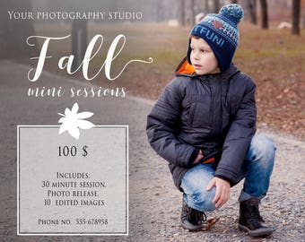 Fall & Autumns Minis, Marketing Board, Photoshop Template for Photographers,Fall Mini Sessions, Autumn Mini sessions