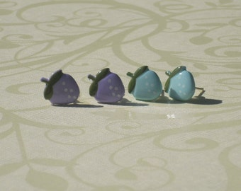 Choice of ONE:  Milky Blue or Purple Raspberry/Strawberry Stud Earrings