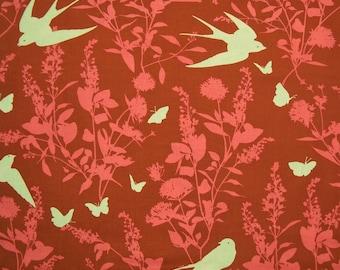 VENTE de fermeture de magasin - Joel Dewberry, Bungalow, étude de l'Hirondelle, châtaigne, esprit libre, tissu 100 % coton courtepointe, piquer le tissu