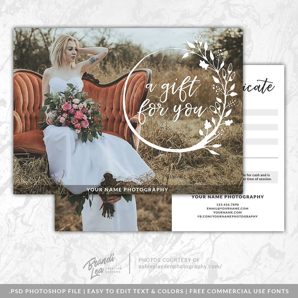 Photography gift certificate template photoshop gift card zoom yelopaper Image collections