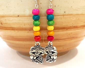 catrina earrings, mexican catrina, calavera earrings, dia de los muertos jewelry, mexican folk jewelry, silver earrings handmade