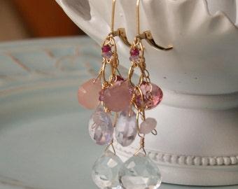 Fard à joues pierres précieuses boucles d'oreilles, Semi précieux bijoux, pierres précieuses roses en or 14K rempli, mariage, Chandelier, balancent, boucles d'oreilles de mariée de luxe