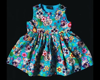 Skeletots blue sugar skulls dress goth rock baby girl ages 2-6 years
