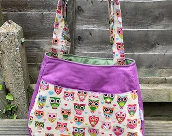 Owl pattern bag, Purple and multi colour owls tote bag, Ethal pattern design bag