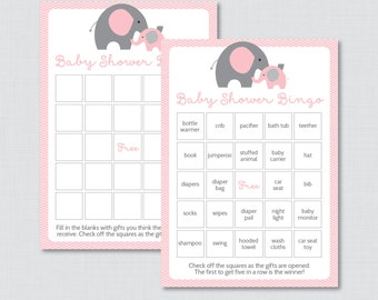 Elephant Baby Shower Bingo Cards - Prefilled Bingo Cards AND Blank Cards - Digital Instant Download - Pink Elephant Baby Shower - 0024-P