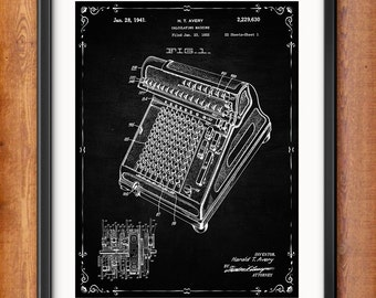Accountant Gift - Calculating Machine Patent Print - Accounting - Book Keeping - Office Decor Wall Art Calculation Instrument  1355