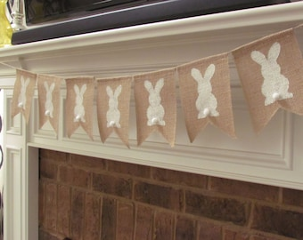 Easter Banner, Easter Burlap Banner, Spring Decorations, Pennants - Bunnies Only
