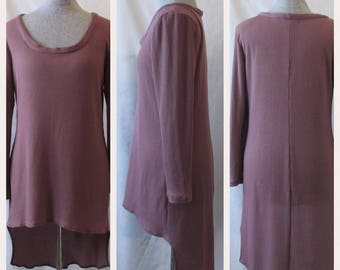 Pink Knit Dress- Hi Low Dress- Ribbed Knit Dress- Long Sleeve Dress- Asymmetrical Dress- Womens Large- Womens Dress- Handmade- One of a Kind