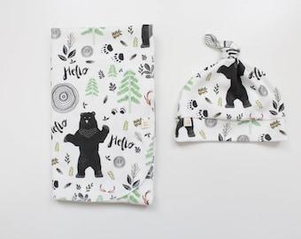Swaddle Blanket / Woodland Swaddle Blanket / Receiving Blanket / Nature Swaddle Blanket / Baby Boy Gift / Swaddle Set / Black Bear baby