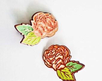 Rose ENAMEL PIN SET, gardening gift, rose lapel pin set, beauty gift, fairytale gift, wedding lapel pin, wedding enamel pin, flower pin