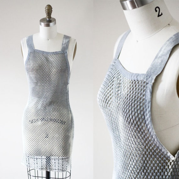 1930s grey mesh tunic dress // 1930s under garment // vintage dress