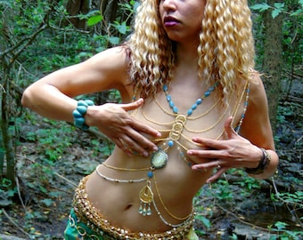 Body Jewelry: Oshun - Chest Harness and Hip Chain Set with Crystals and Opalite on Gold Chain